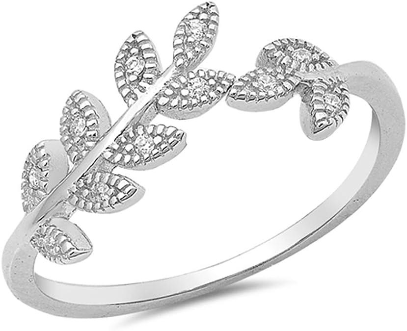 Branch Twig Four Leaf CZ Silver 925 Ring