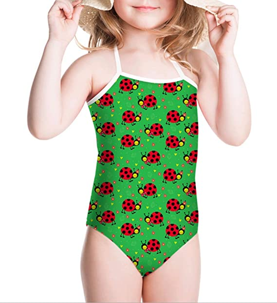Girls One Piece 8T Print Swimsuit for Girls Crossback Strap with Cap