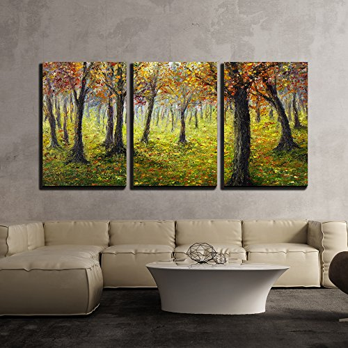 wall26 - 3 Piece Canvas Wall Art - Original Oil Painting Showing Beautiful Autumn Forest on Canvas - Modern Home Decor Stretched and Framed Ready to Hang - 16
