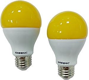 60Watt Yellow LED Bug Light Bulb 2-Pack No Blue Light Outdoor 800Lm 120V E26 Medium Base
