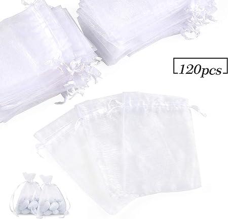 Confezione 7/X 9 9/x 12/cm Bianco Trasparente Sacchetto di organza gioielli sacchetto Wedding matrimonio 7 x 9 cm
