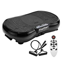 Unbekannt Finether Vibrationsplatte Fitness Vibration-Platform Vibrationstrainer Vibrationsgerät, mit Trainingsbänder, rutschsicherer Trainingsfläche, LCD Display&Fernbedienung, 150kg Belastbarkeit