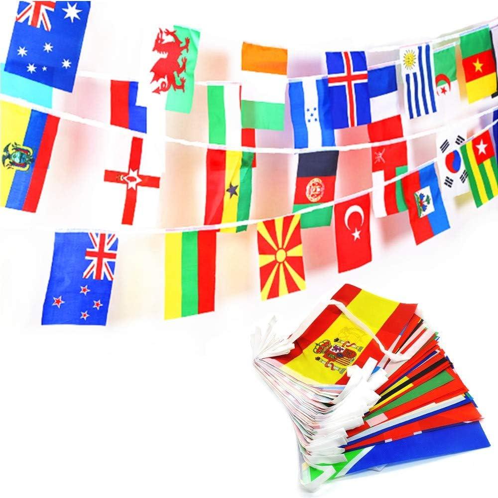JZK 25 Metros Banderas de Mundo 100 Banderas países, banderitas internacionales, banderines Tela guirnaldas para decoración Fiesta Jardin