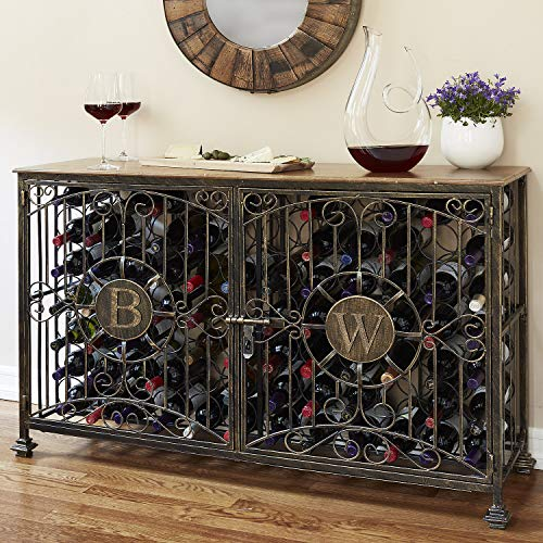 Wine Enthusiast 84 Bottle Antiqued Steel Wine Jail Console, Bronze