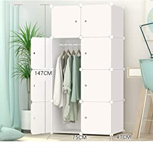 Xnxn Portable Resin Wardrobe Armoire, Modular Storage Organizer Shelves Bookshelf Closet Armoire for Bedroom-White L75×w47×h147cm(30x19x58 Inch)