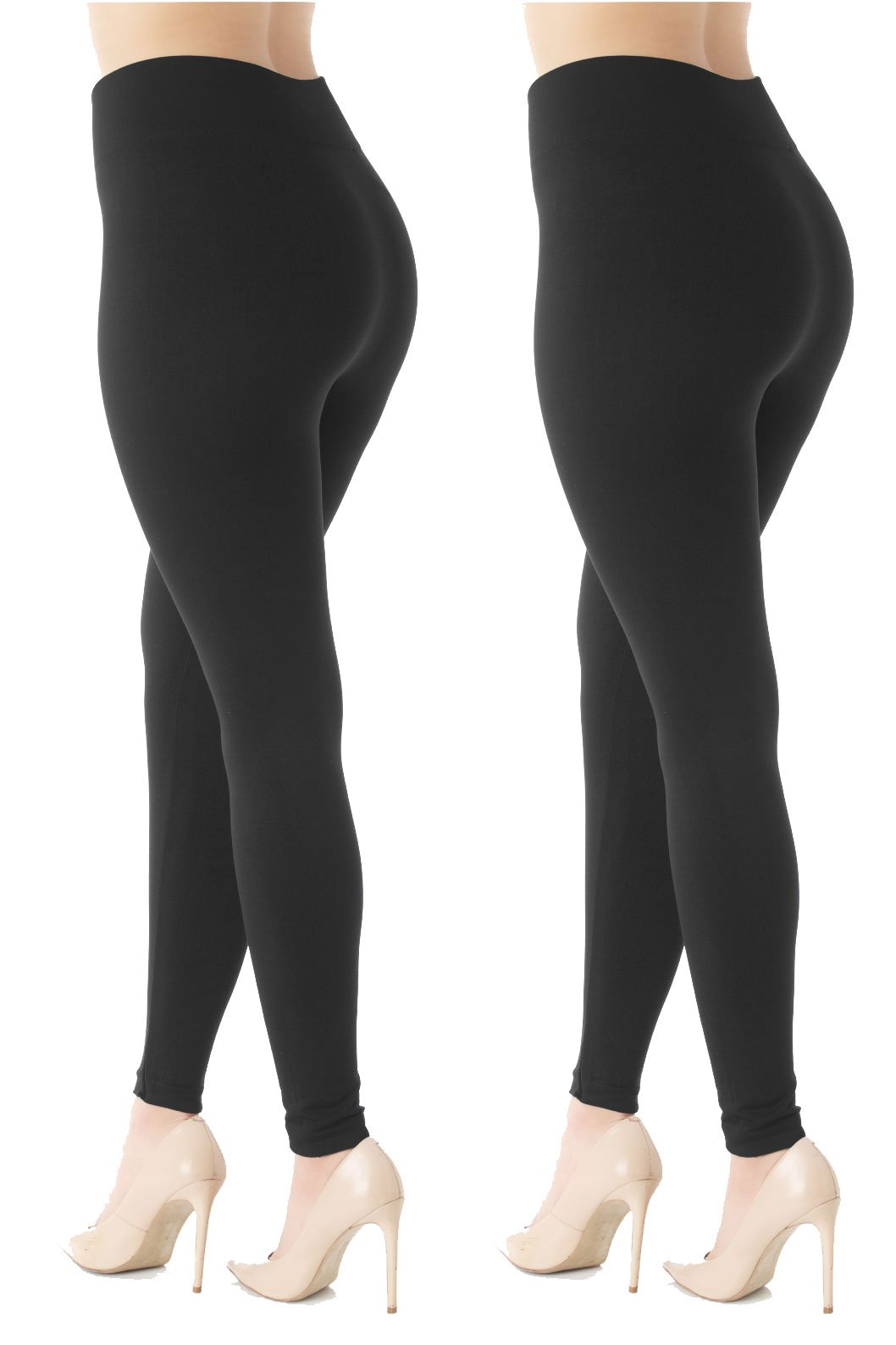 Premium Women's Fleece Lined Leggings - High Waist - Regular and Plus Size - 20+ Colors (L/XL (12-20), 2 Pack Black)