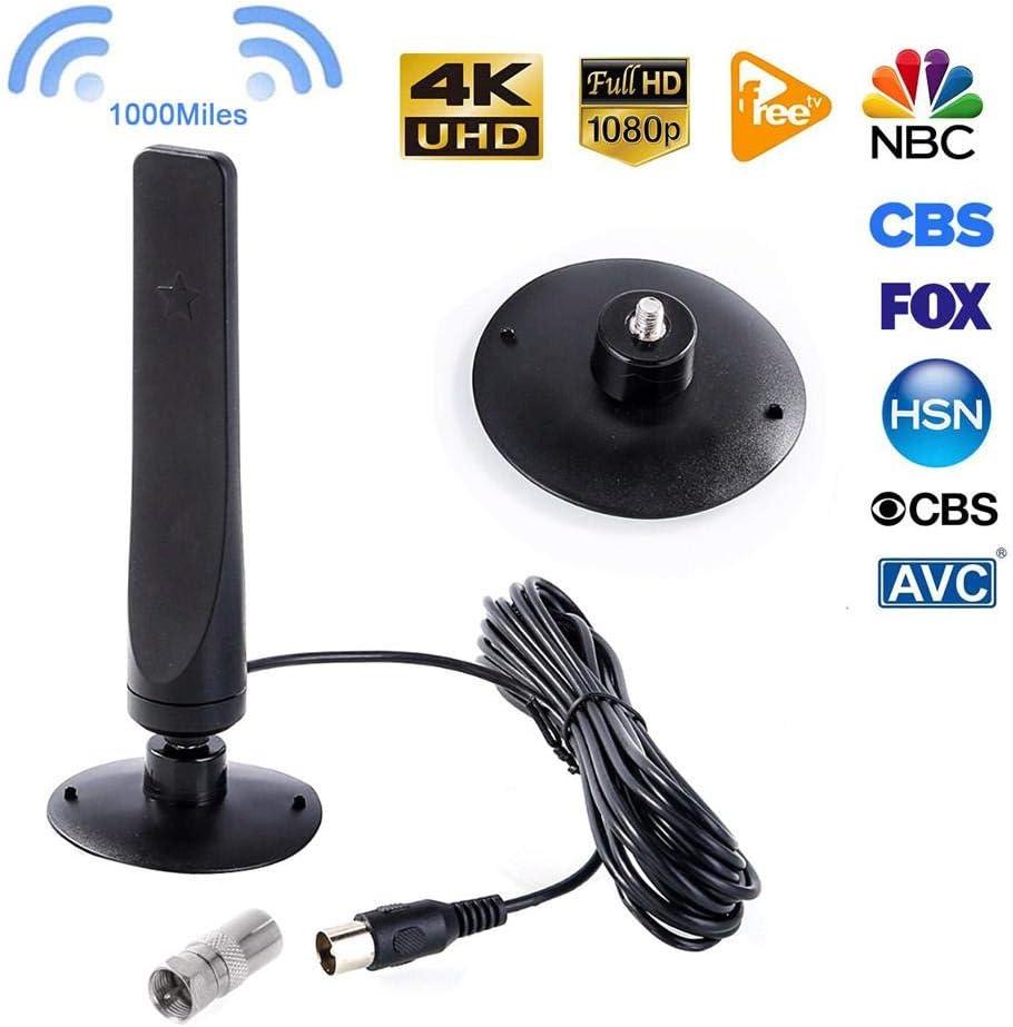 headytidy Amplified HD Digital TV Antenna Long 1000 Miles Range -1080P Indoor Signal Receiver HDTV Amplifier Signal Booster Mini DVB-T2 Antenna 3.0M