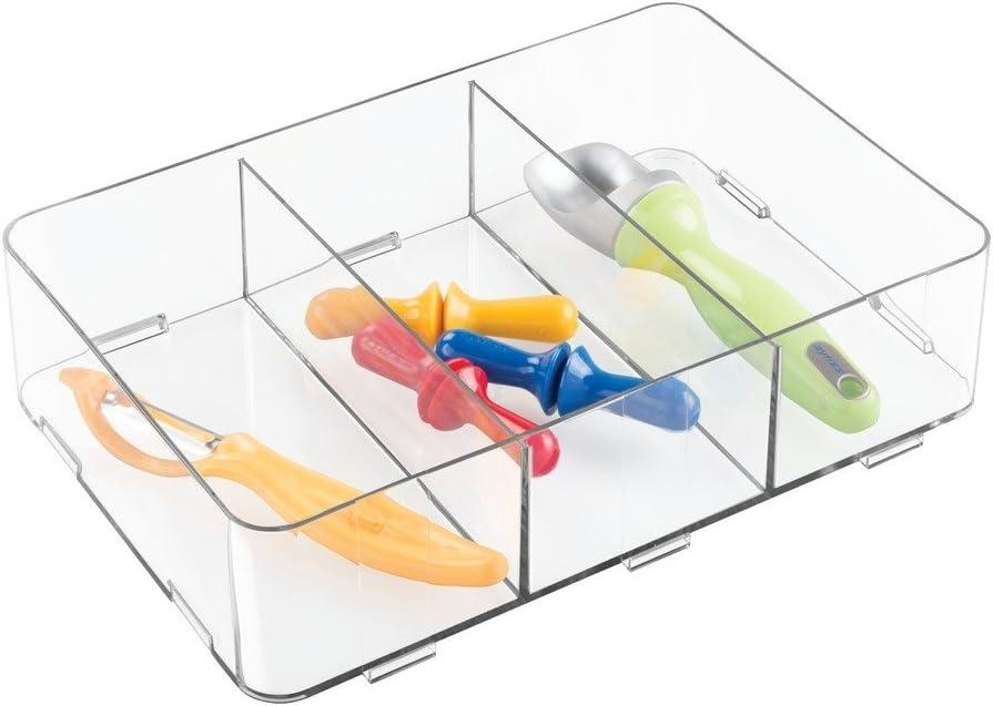 kompakte Aufbewahrungsbox mit 3 F/ächern aus Kunststoff iDesign Clarity Schubladen Organizer durchsichtig