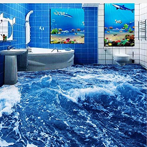 Lifme Custom 3D Floor Wallpaper Bedroom Living Room Bathroom Floor Mural 3D Ocean Sea Water Self-Adhesive Floor Wallpaper-250X175Cm ()