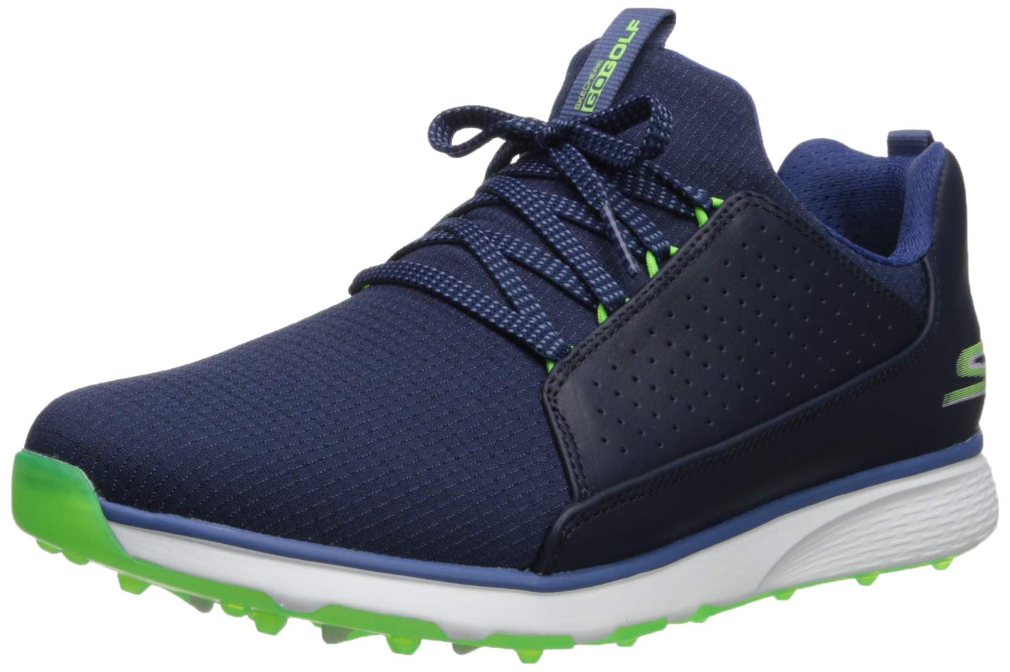 Skechers Men's Mojo Waterproof Golf Shoe, Navy/Lime Textile, 11 M US by Skechers
