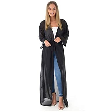 549666f3f469e mix lot Mixlot New Women s Ladies Sexy Chiffon Sheer Mesh Belted Maxi Long  Cardigan Kimono Coverup (