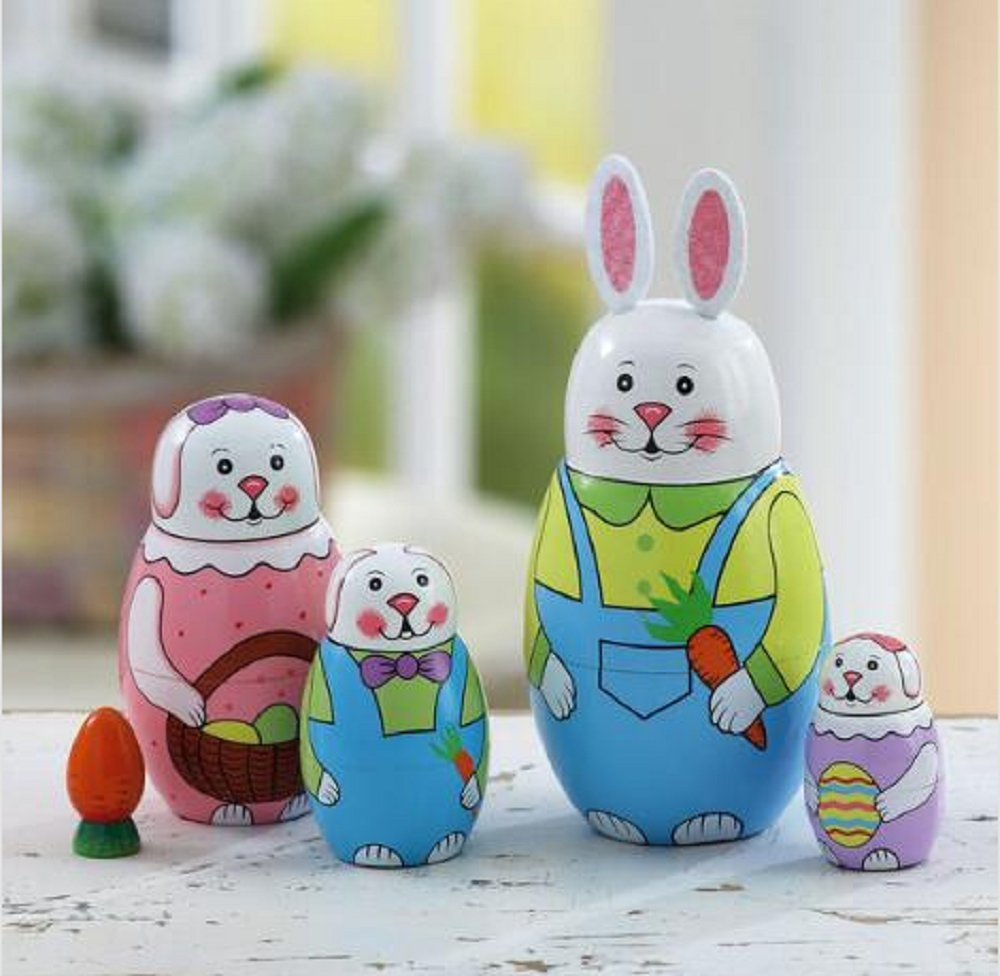 Hand Painted 6'' Easter Bunny Nesting Dolls