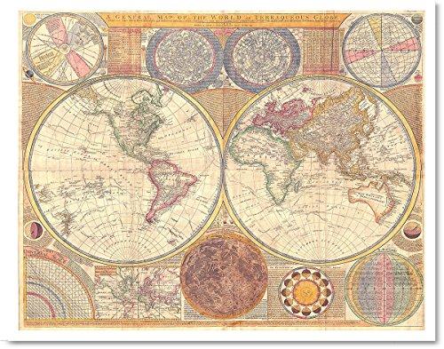 Gabby's Choice 1794 Samuel Dunn Antique World Map Art Print - 11 x 14 Unframed Art Print - Great Vintage Home Decor