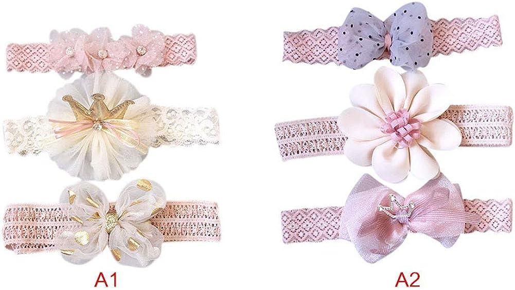 Gyratedream 3 Pcs Baby Cute Girls Lace Flower Design Headband Headwear Apparel Prop Party Gift