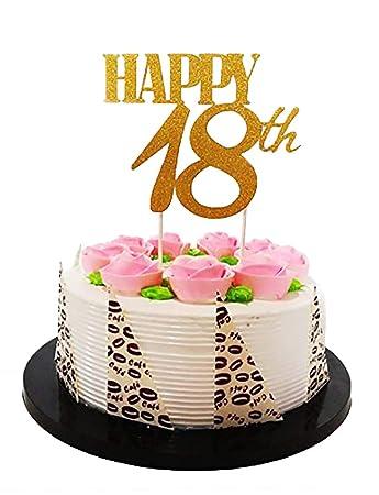 Amazon Com E L Gold Glitter Happy 18th Birthday Cake Topper