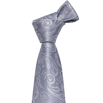 MU Leisure Men S Tie New Classic Grey Paisley Suit Tie 100% Silk ...