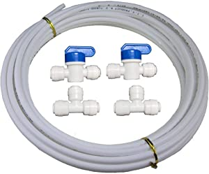 "Malida 3/8"" Diameter Tubing 5 Meters (16 feet) RO water Tubing Hose Pipe,+3/8"" shut off valve 2 pcs, 3/8"" tee 2 pcs. (3/8""tubing + valve +tee)"
