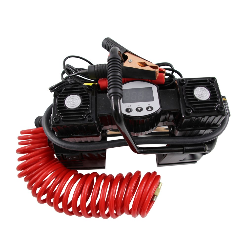 NoOne Double Cylinder Air Compressor Pump, Portable Digital Gauge Tire Inflator Powered by Car with LED Light for Car Truck Bike Tires