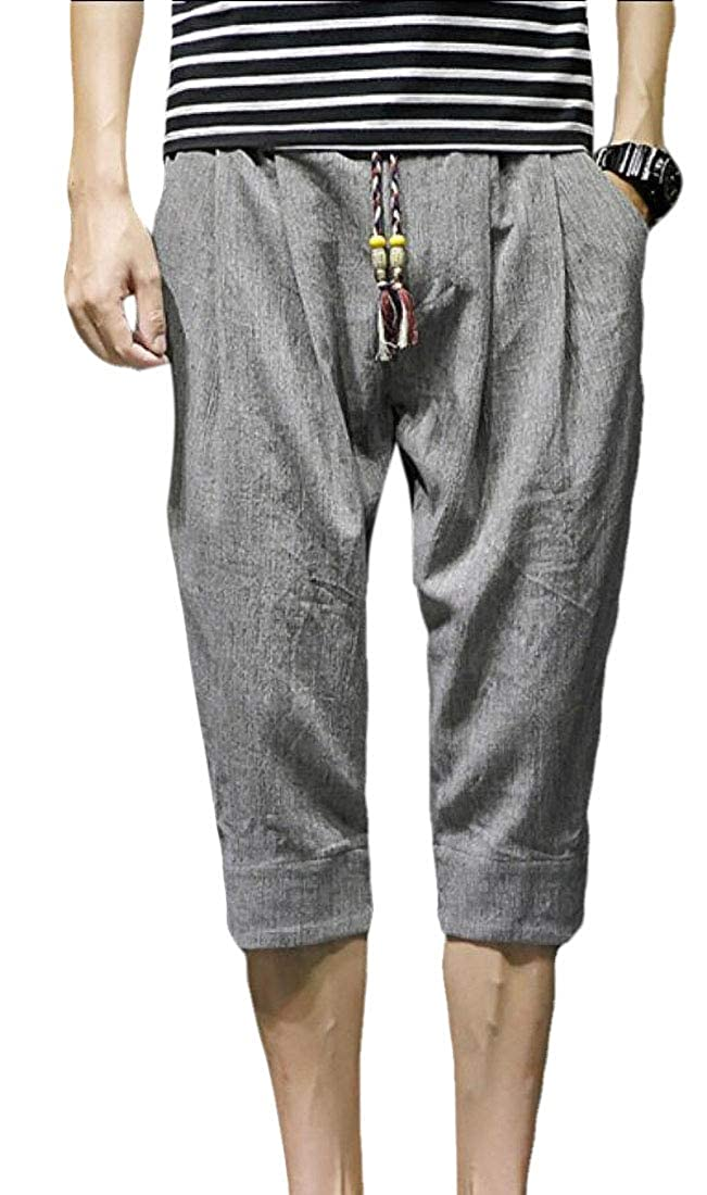 HANA+Dora Mens Cotton Linen Trousers Casual Loose Drawstring Yoga Pants