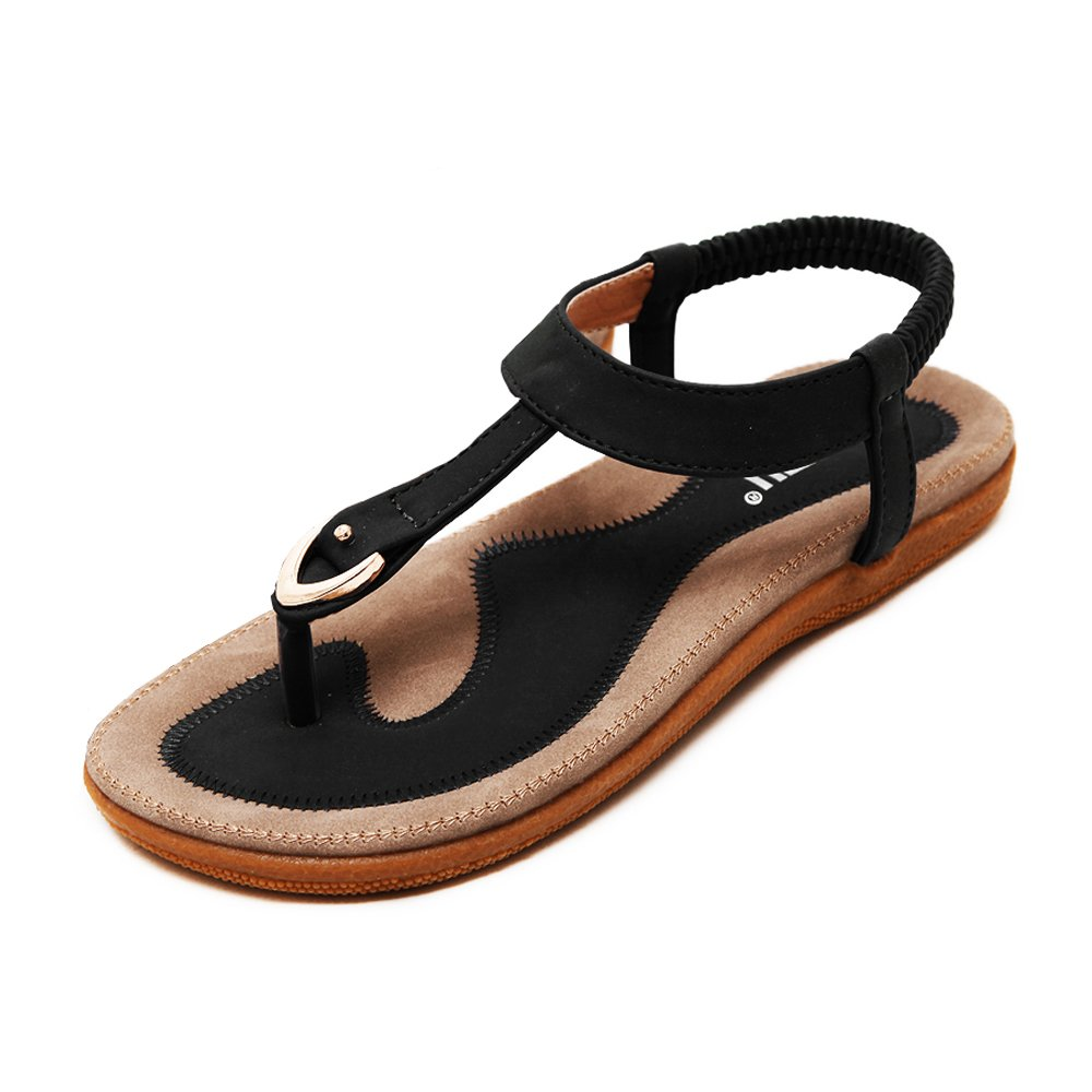 LK Comfortable Elastic Clip Toe Flat Beach Sandals for Women (US9, Black)