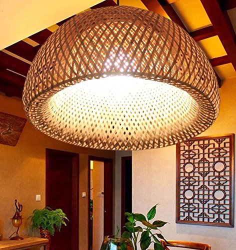 Onfly Chinese Bamboo Chandelier,hand Made Bamboo Lantern Pendant Lamp, Hanging Lamp,restaurant/aisle Bamboo Lamp(without Bulb) (Color : With glass lampshade, Size : 3018cm)