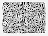 Lunarable Casino Bath Mat, The Dices Close-up Image Abstract Monochromic Chaotic Crowded Gaming Houses, Plush Bathroom Decor Mat with Non Slip Backing, 29.5 W X 17.5 W Inches, Pale Grey Black