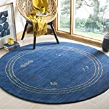 Safavieh Himalaya Collection HIM588A Blue and Multi Wool Round Area Rug (6′ in Diameter)