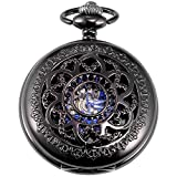 New Brand Mall Retro Black Flower Skeleton mechanical Hand-wind blue roman numberal Pocket Watch