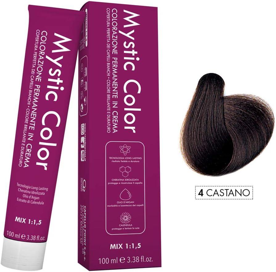 Mystic Color - Coloración Permanente en Crema con Aceite de Argán y Caléndula - Color Natural y Duradero - Tono 4 Castaño - 100 ml