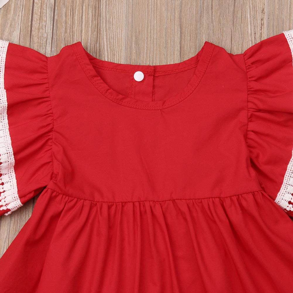 Newborn Toddler Girl Sister Matching Outfits Ruffle Sleeve Cotton Red Dress Overall Romper Clothes