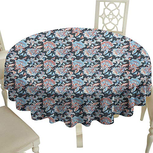 100% Polyester Round Tablecloth 65 Inch Floral,Victorian Retro Renaissance Blooms with Folk Batik Arabian Influences,Charcoal Grey Coral Blue Great for Traveling & More