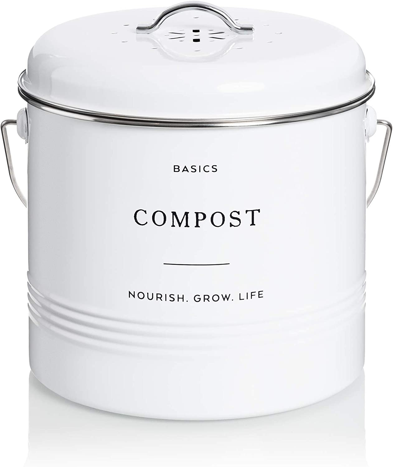 D'Lifeful Farmhouse Compost Bin Indoor Kitchen - Sealed with Airtight Lid - 1.3 Gallon Carbon Steel Compost Pail with Charcoal Filter - Stylish, White