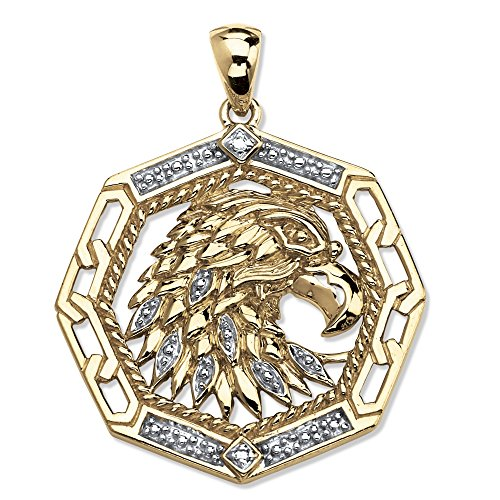 Men's 18K Yellow Gold over Sterling Silver Diamond Accent Octagon Eagle Pendant (Diamond Drop 18k White Gold Necklace)