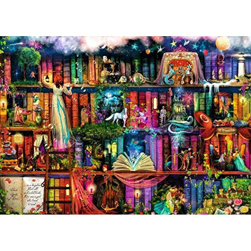 Vertily Paintings 5D DIY Diamond by Number Kits Cross Stitch Sets for Wall Home Decor, Fantasy Bookshelf - 12X16inch/30X40CM -