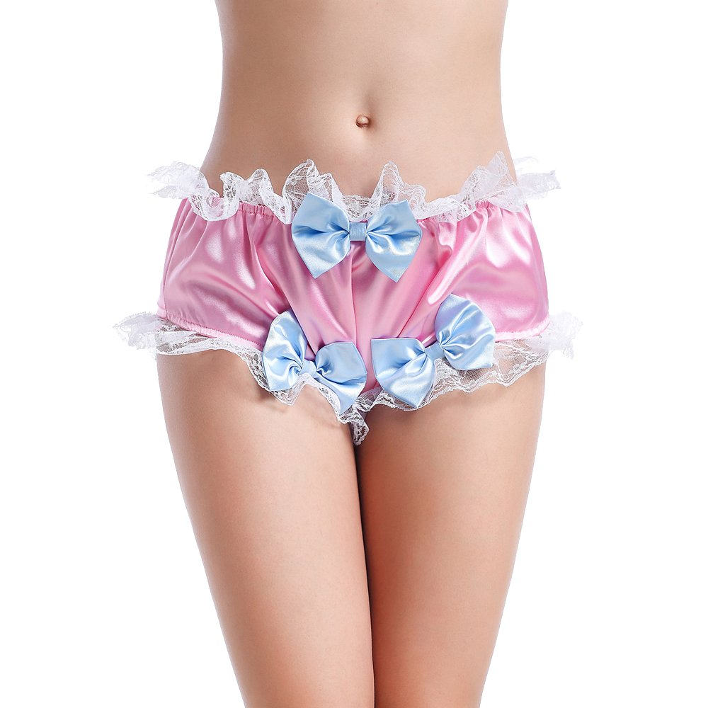 GOceBaby Sissy Girl Bow Shiny Satin Lace Panties Lingerie Underwear