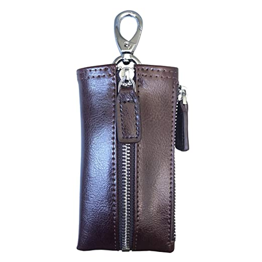 b510eae7391c Key Holder Wallet Genuine Leather Key Organizer Case for Men Women Pocket  Key Purse with 6 Hooks & 1 Zipper Coin Pouch