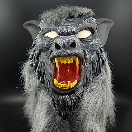 FairOnly Halloween Super Scary Horror Painted Face Wolf`s Head Mask Headgear Halloween Party Costume Decorations