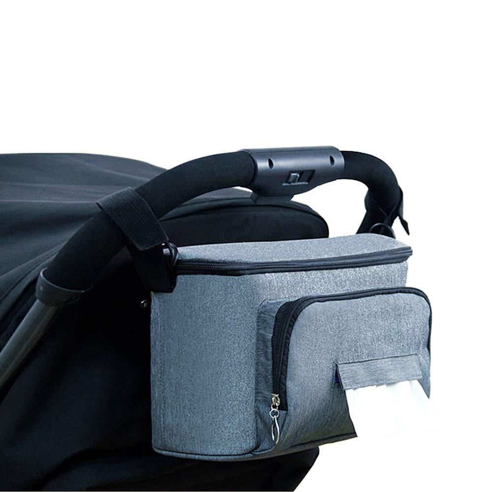BangShou Bolsos Carro Beb/é Bolsas Paseo Organizador Gran Capacidad Oxford Bolsas Organizador Carro Silla Paseo Negro Gris
