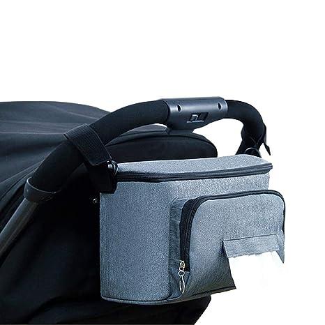 BangShou Bolsos Carro Bebé Bolsas Paseo Organizador Gran Capacidad Oxford Bolsas Organizador Carro Silla Paseo Negro(Gris)