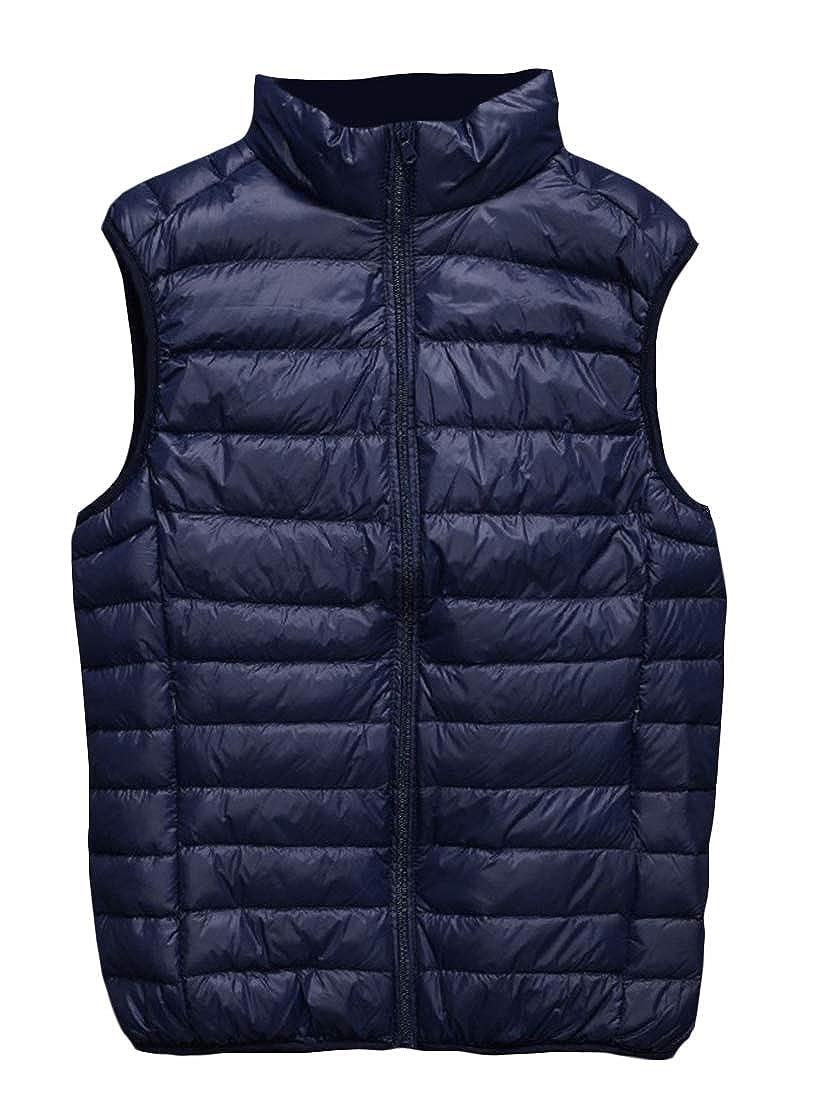 Wofupowga Mens Lightweigth Stand Collar Sleeveless Puffer Waistcoat Down Vest