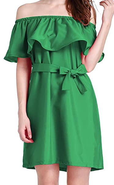 Nq Womens Solid Color Off Shoulder Ruffle Plus Size Tunic Dress With