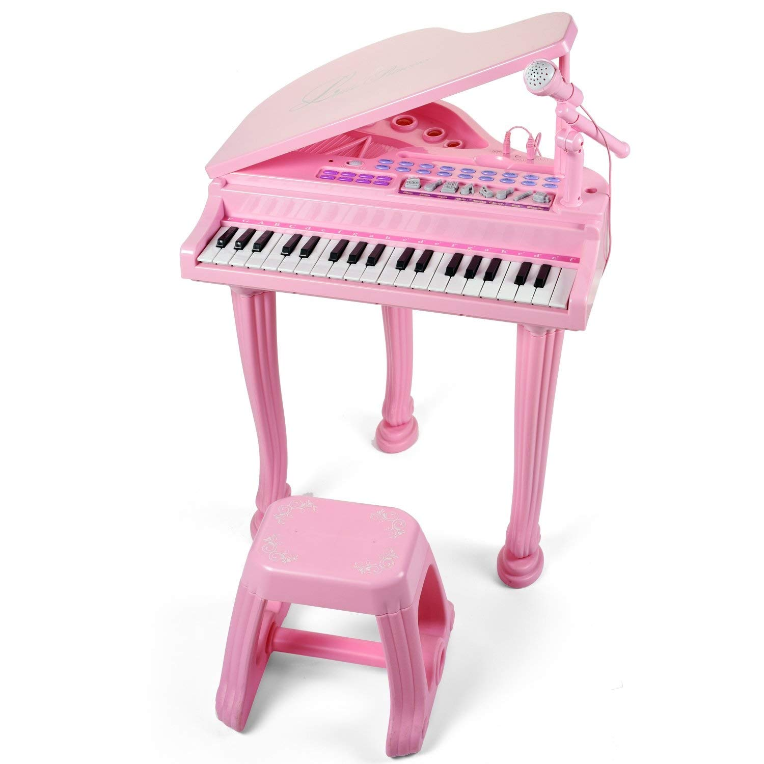 XNYY BABY 37 Key Pink Princess Grand Piano Children's Small Piano Toy Children's Toy Keyboard Girl Baby, Small Piano Beginner Grand Piano 1-2 Years Old Entertainment Toys Early Childhood Piano