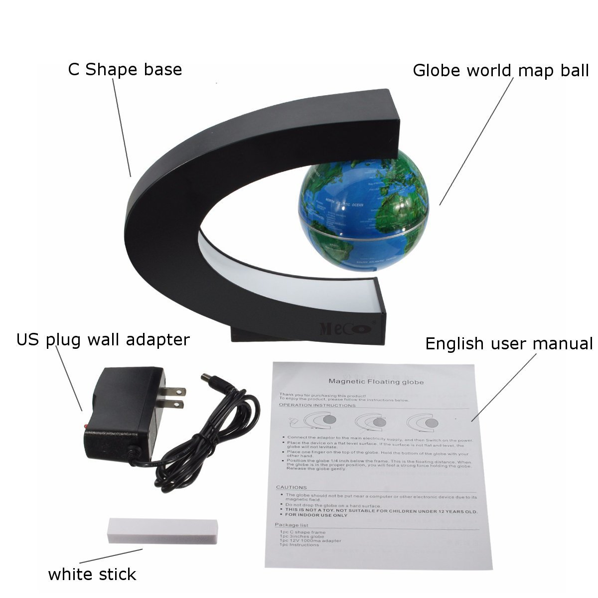 Amazon meco 3 funny c shape magnetic levitation floating amazon meco 3 funny c shape magnetic levitation floating globe world map with colored led light anti gravity globe for children gift home office desk gumiabroncs Choice Image