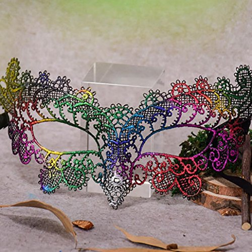 Masquerade Lace Mask Catwoman Halloween Black Cutout Prom Party Mask Accessories,Tuscom (Green) ()