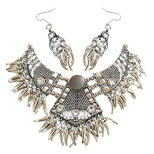 Young & Forever ''Tribal Muse Navli Navratri Collection'' Splendid Brass Jaipur Jewels Antique Silver Oxidized Necklace Set for girls navratri jewellery for women by CrazeeMania by Young & Forever