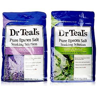 Dr. Teal's Epsom Salt Soaking Solution Bundle - 1 Relax & Relief Eucalyptus Spearmint 3lbs and 1 Sooth & Sleep Lavender 3lbs