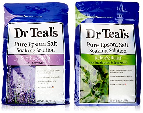 Dr. Teals Epsom Salt Soaking Solution Bundle - 1 Relax & Relief Eucalyptus Spearmint 3lbs and 1 Sooth & Sleep Lavender 3lbs