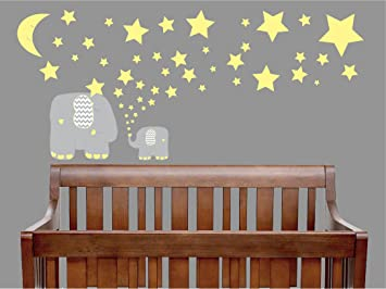 Amazoncom Yellow And Grey Elephant Wall Decals Elephants - Nursery wall decals elephant