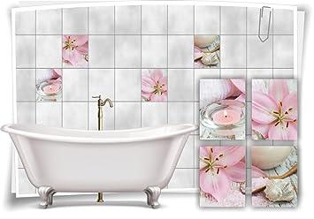 Medianlux Fliesenaufkleber Fliesenbild Lilien Muschel Krze Deko Wellness  Aufkleber Fliesen Bad WC Dekoration Badezimmer, 15x20cm
