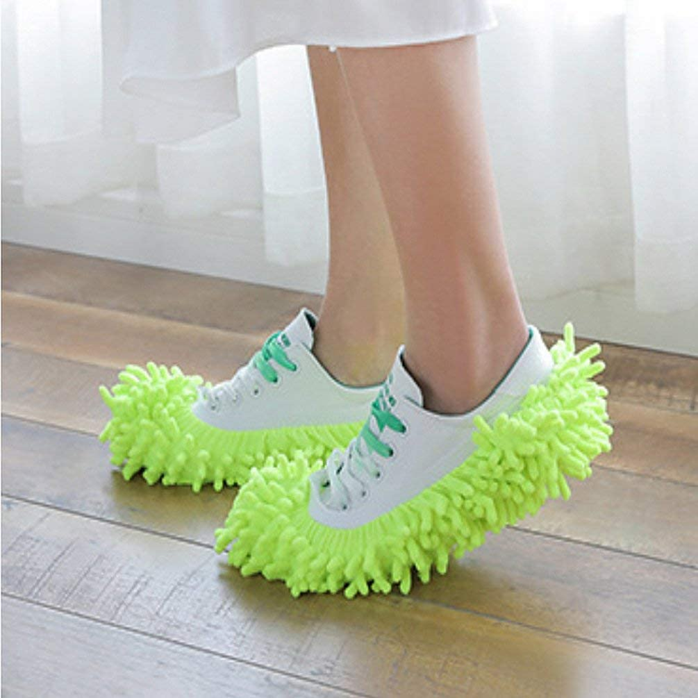 AdaAda Dust Duster Mop Slippers Shoes Cover Soft Washable Reusable Shoe Cover Green